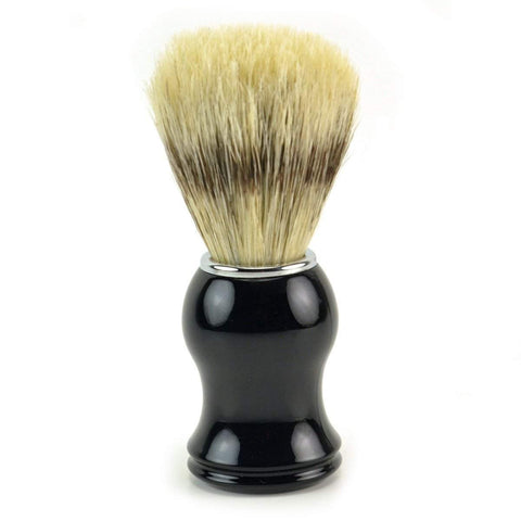 Classic Brand Natural Bristle Shaving Brush, Black Resin Handle w/ Chrome Accents-