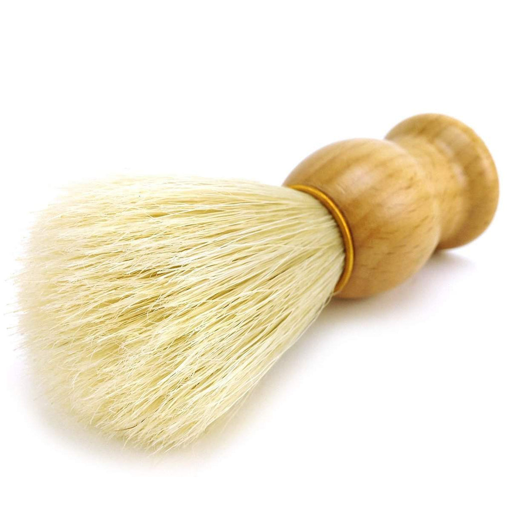 Classic Brand Natural Bristle Shaving Brush w/ Light Wood Handle-