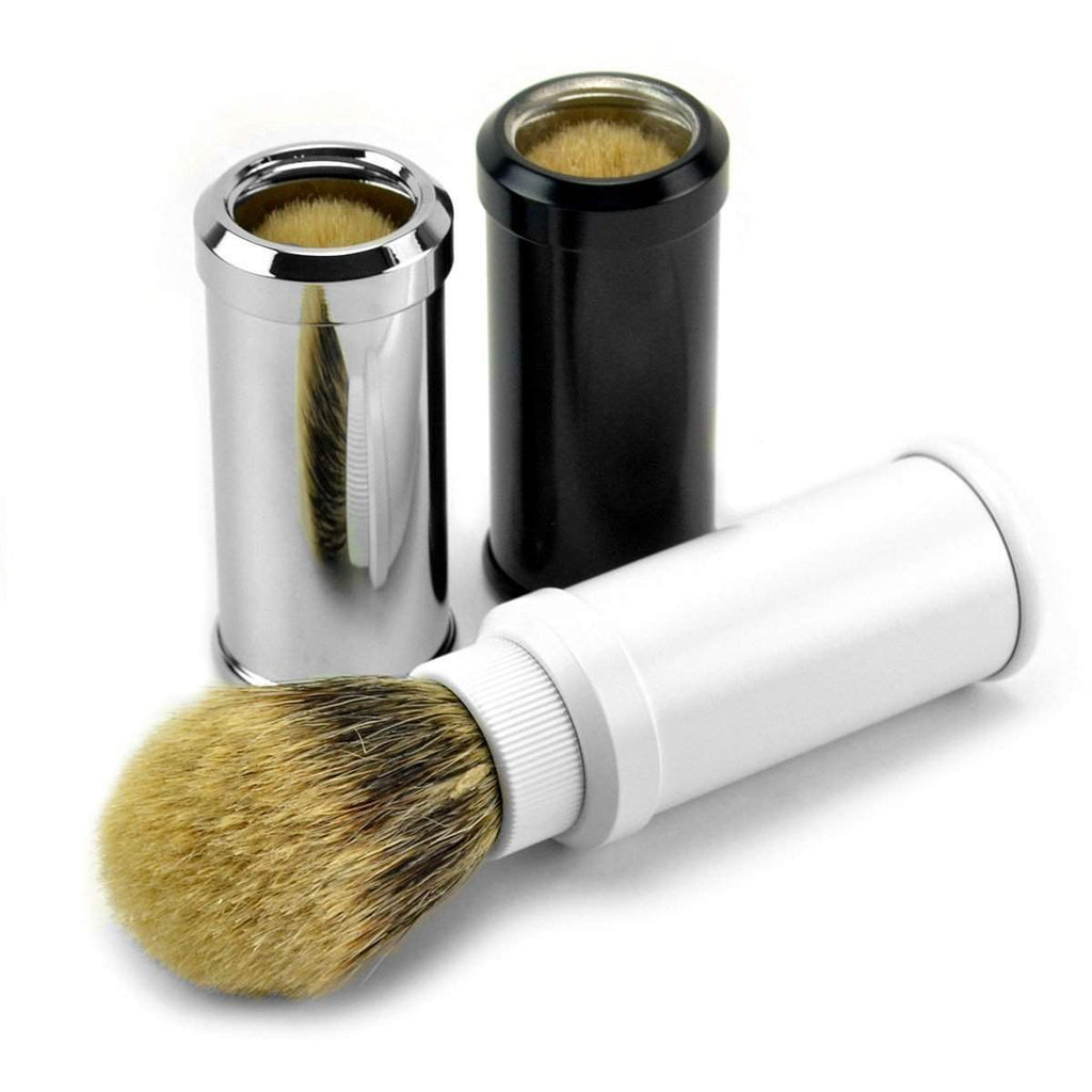 Classic Brand Super Badger Travel Shaving Brush in Black, White or Chrome-