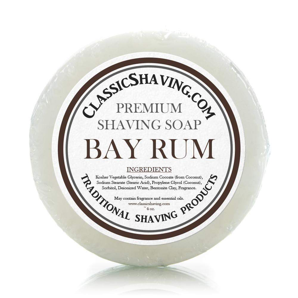 "Classic Shaving Mug Soap - 3"" Bay Rum-"