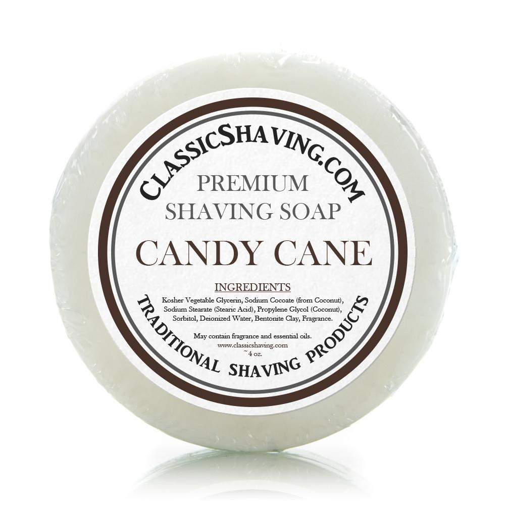 "Classic Shaving Mug Soap - 3"" Candy Cane-"