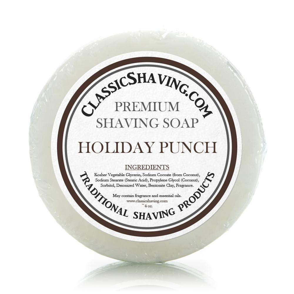 "Classic Shaving Mug Soap - 3"" Holiday Punch-"