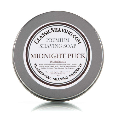 "Classic Shaving Mug Soap - 3"" Large in Tin - Midnight Puck-"