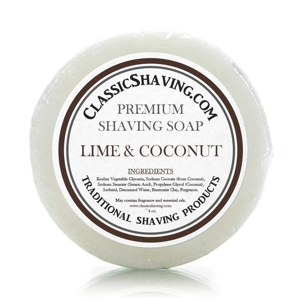 "Classic Shaving Mug Soap - 3"" Lime & Coconut-"
