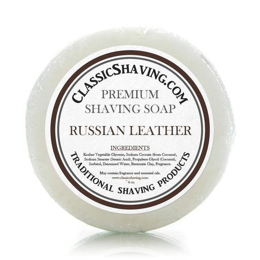 "Classic Shaving Mug Soap - 3"" Russian Leather-"