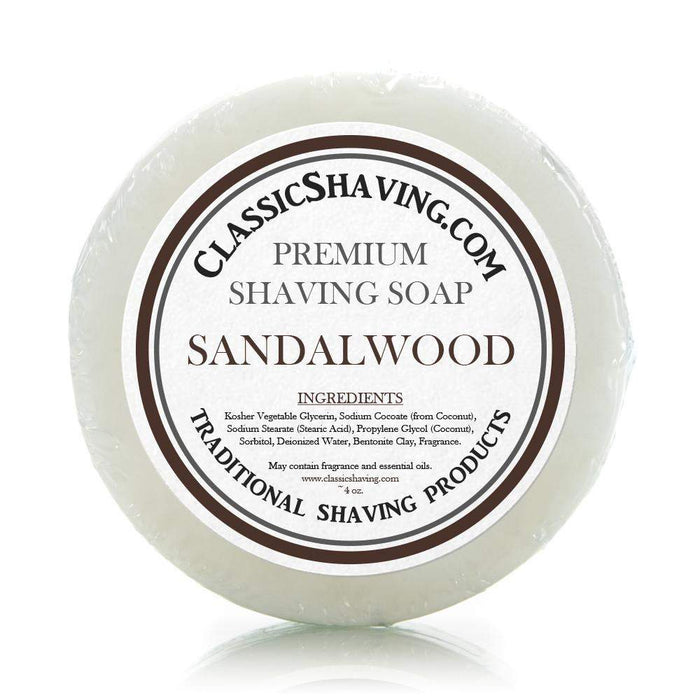 "Classic Shaving Mug Soap - 3"" Sandalwood-"