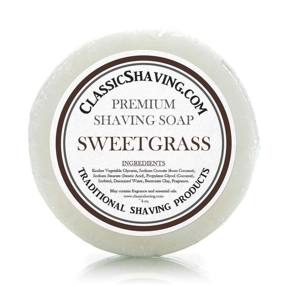 "Classic Shaving Mug Soap - 3"" Sweetgrass-"