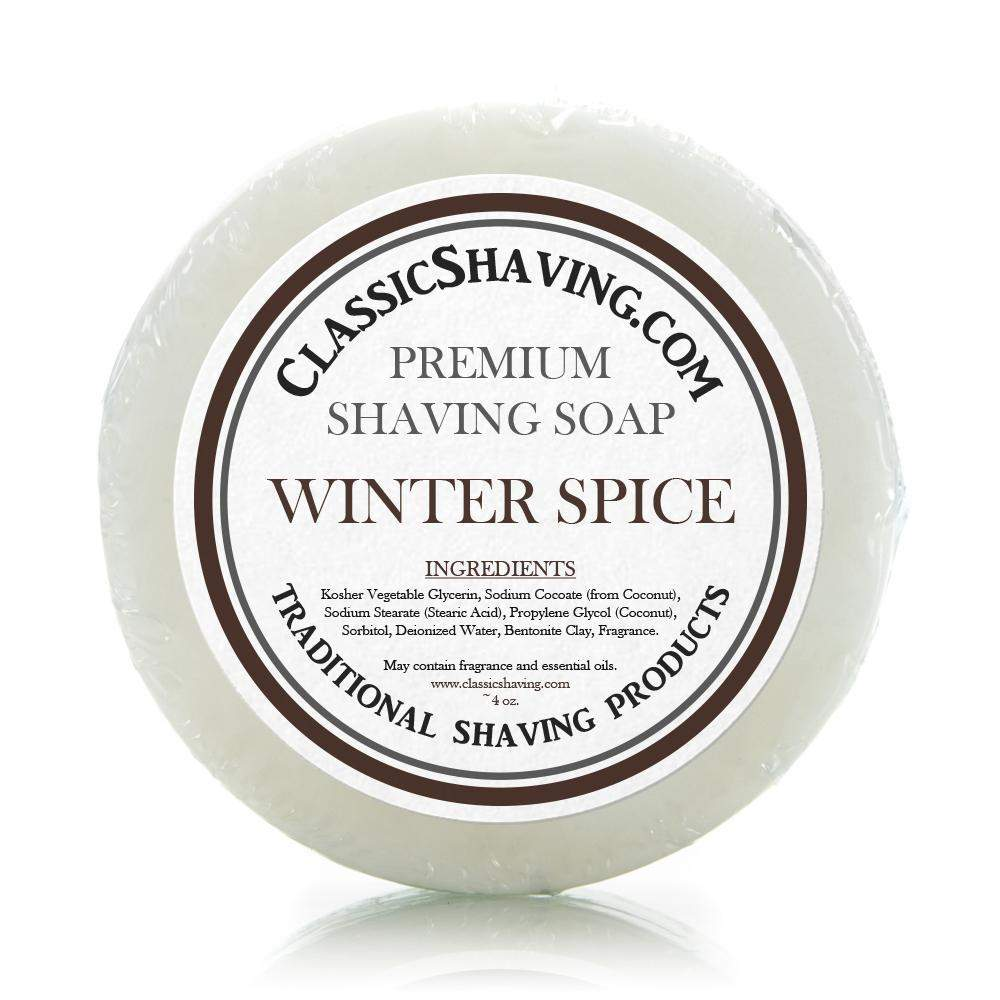 "Classic Shaving Mug Soap - 3"" Winter Spice-"