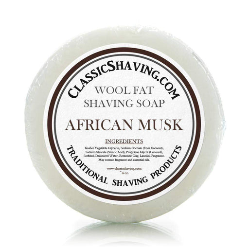 "Classic Shaving Wool Fat Shaving Soap - 3"" African Musk-"