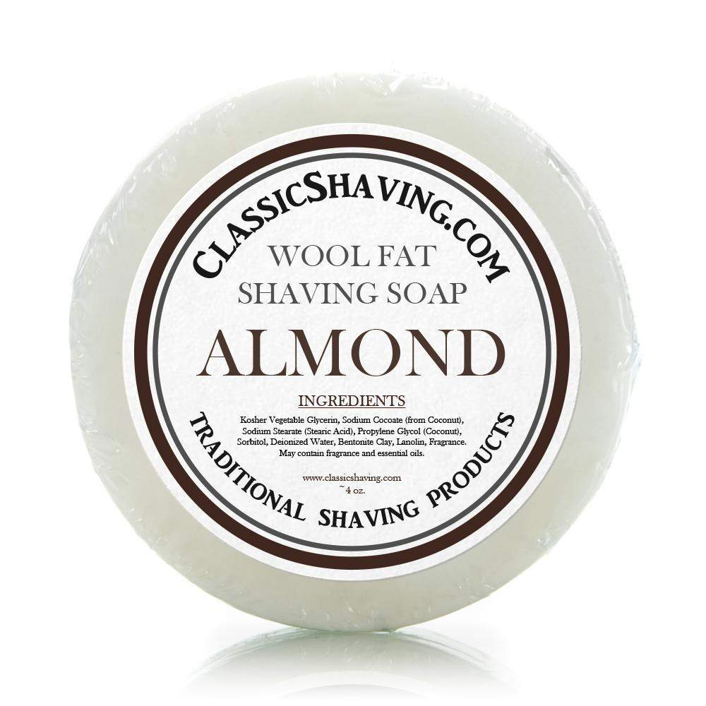 "Classic Shaving Wool Fat Shaving Soap - 3"" Almond-"