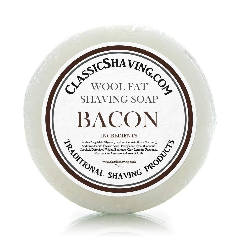 "Classic Shaving Wool Fat Shaving Soap - 3"" Bacon-"