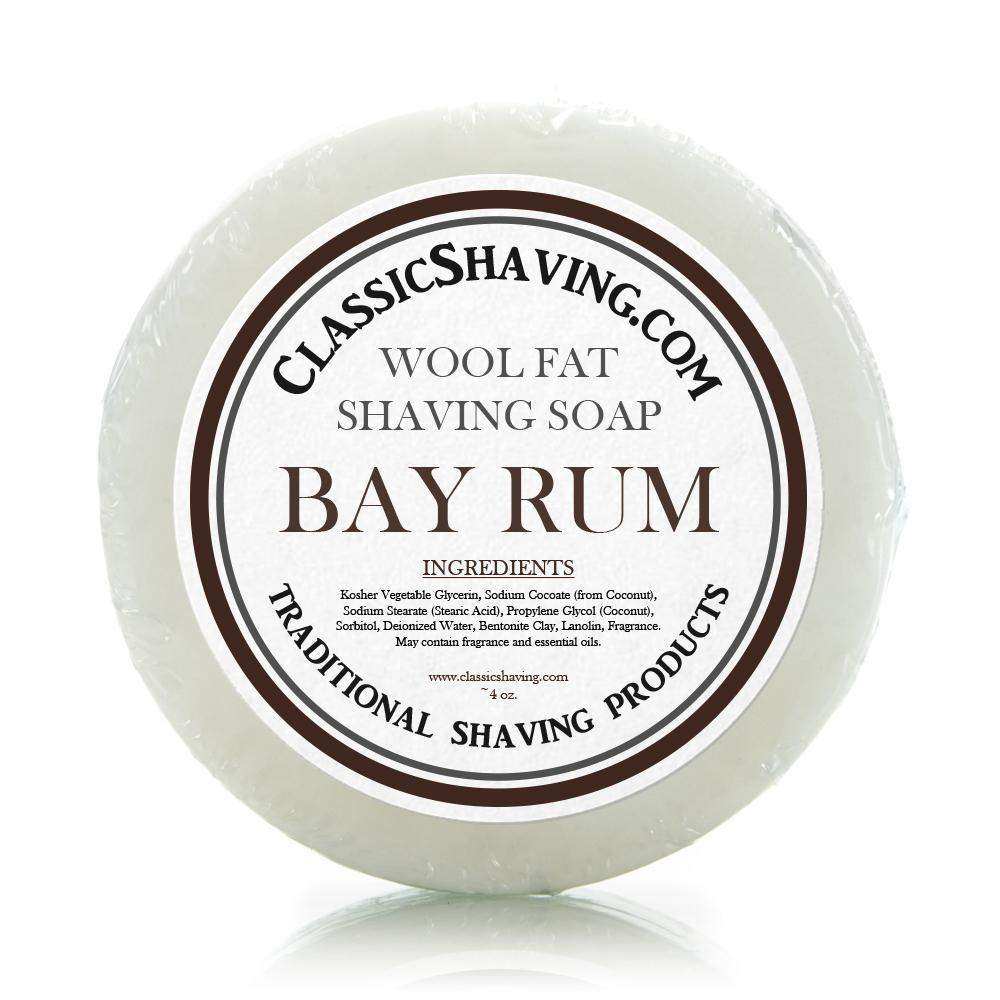 "Classic Shaving Wool Fat Shaving Soap - 3"" Bay Rum-"