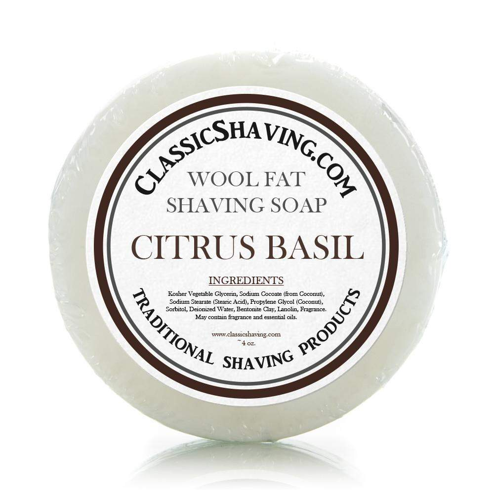 "Classic Shaving Wool Fat Shaving Soap - 3"" Citrus Basil-"