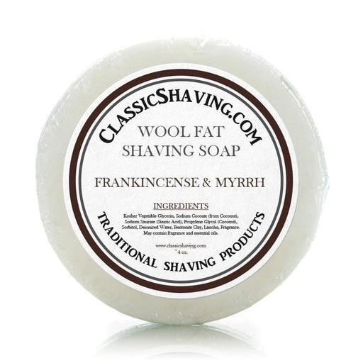 "Classic Shaving Wool Fat Shaving Soap - 3"" Frankincense & Myrrh-"