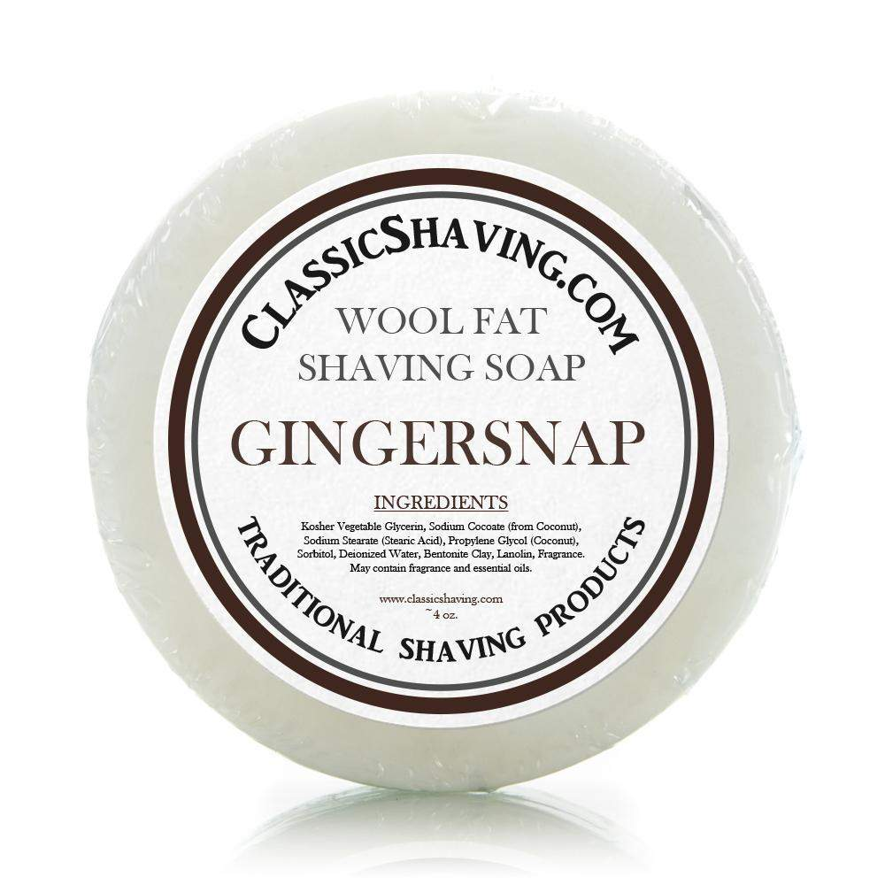 "Classic Shaving Wool Fat Shaving Soap - 3"" Gingersnap-"