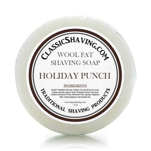"Classic Shaving Wool Fat Shaving Soap - 3"" Holiday Punch-"