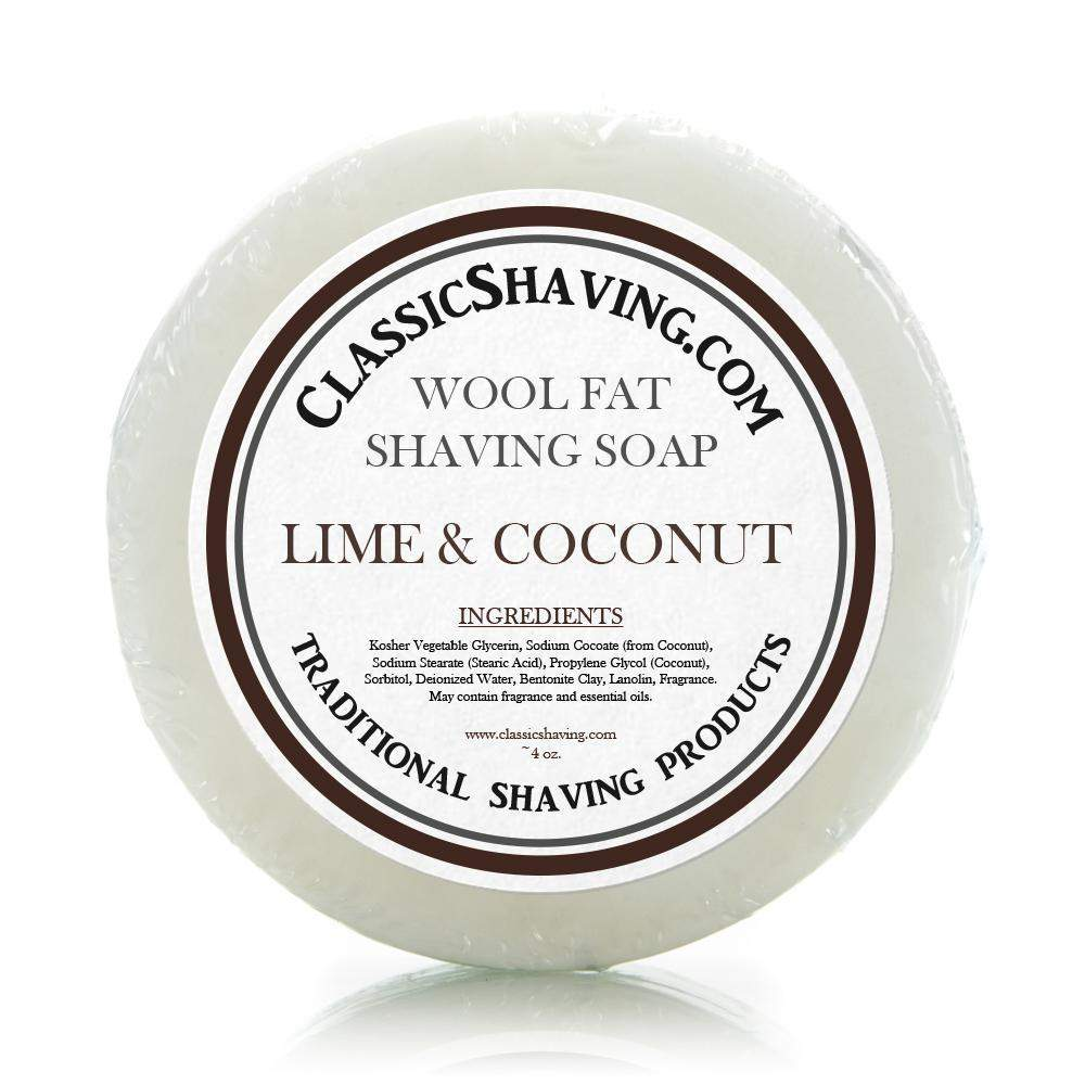"Classic Shaving Wool Fat Shaving Soap - 3"" Lime & Coconut-"