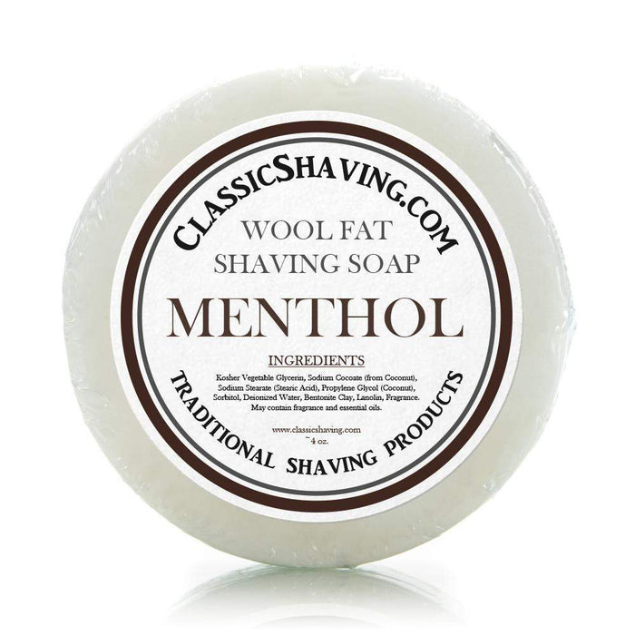"Classic Shaving Wool Fat Shaving Soap - 3"" Menthol-"