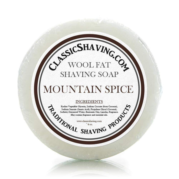 "Classic Shaving Wool Fat Shaving Soap - 3"" Mountain Spice-"