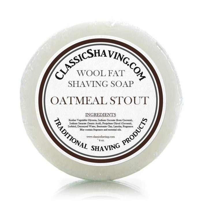 "Classic Shaving Wool Fat Shaving Soap - 3"" Oatmeal Stout-"