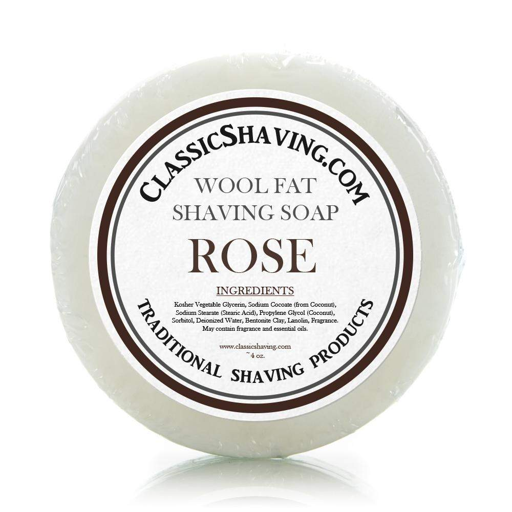 "Classic Shaving Wool Fat Shaving Soap - 3"" Rose-"