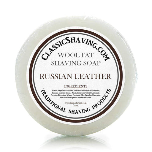 "Classic Shaving Wool Fat Shaving Soap - 3"" Russian Leather-"