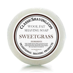 "Classic Shaving Wool Fat Shaving Soap - 3"" Sweetgrass-"
