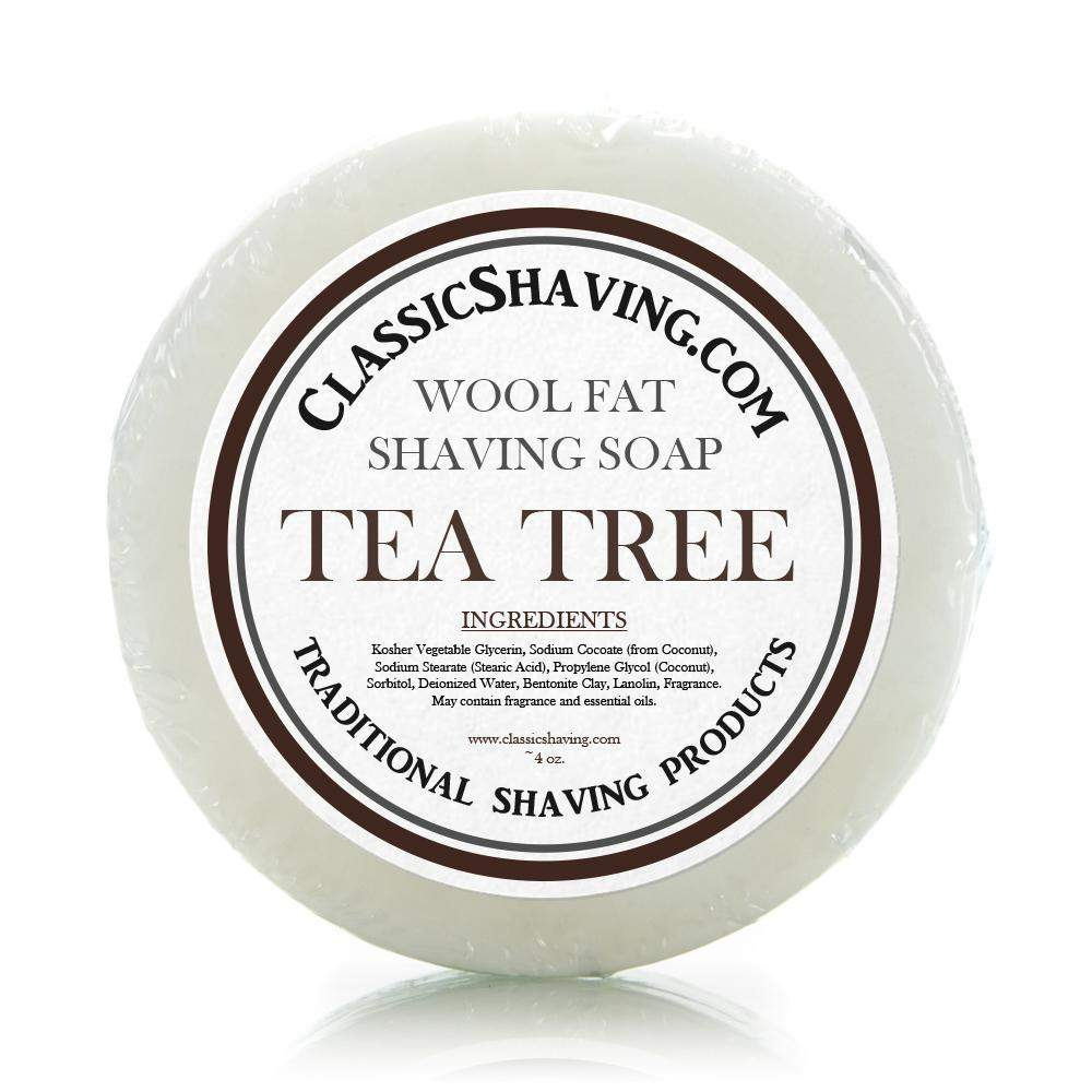 "Classic Shaving Wool Fat Shaving Soap - 3"" Tea Tree-"