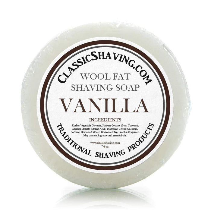 "Classic Shaving Wool Fat Shaving Soap - 3"" Vanilla-"