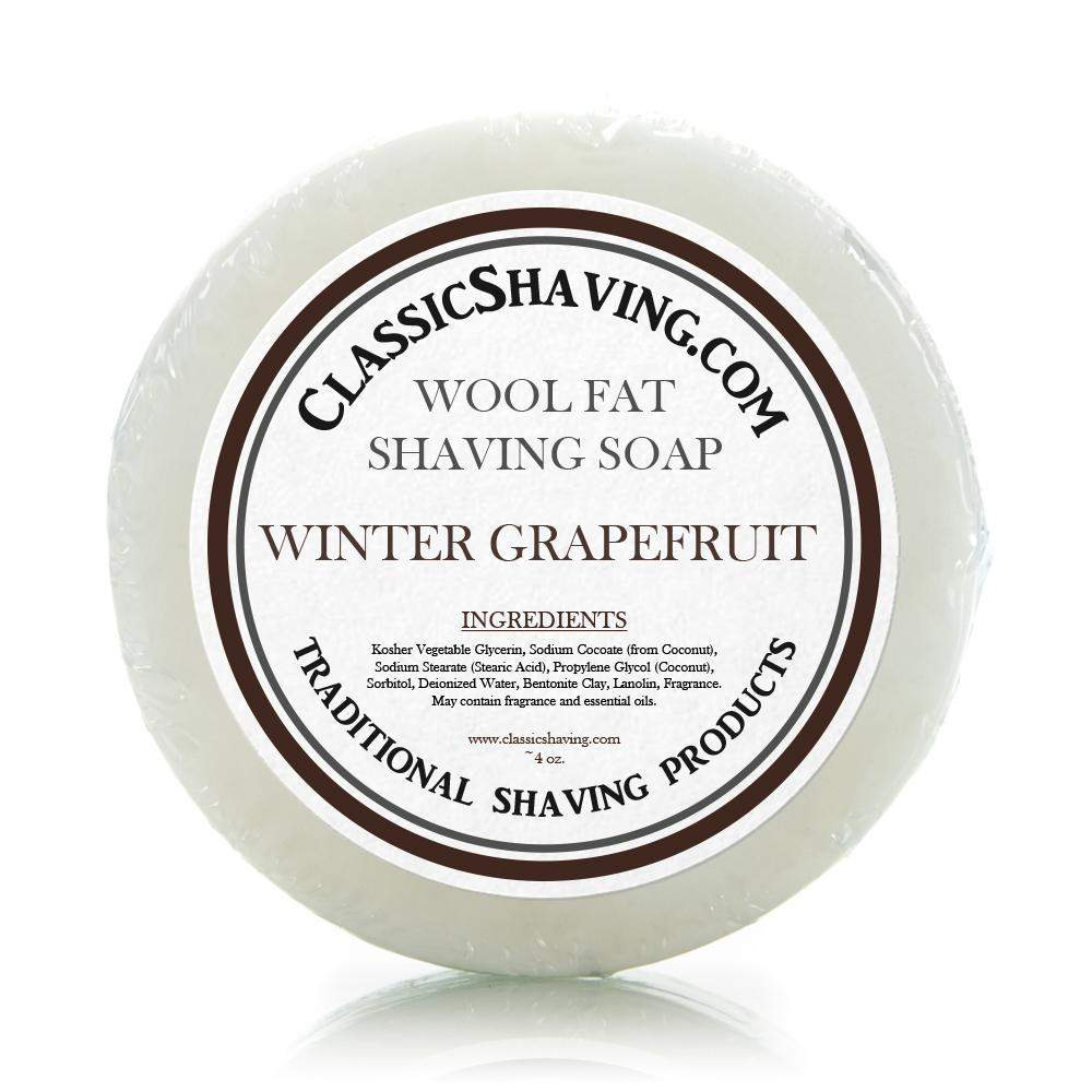 "Classic Shaving Wool Fat Shaving Soap - 3"" Winter Grapefruit-"