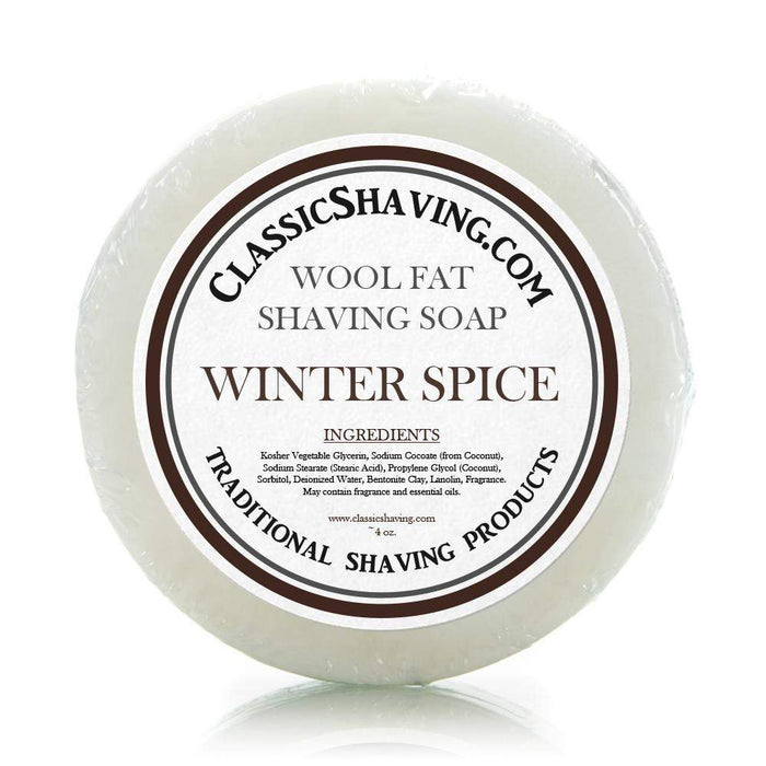 "Classic Shaving Wool Fat Shaving Soap - 3"" Winter Spice-"