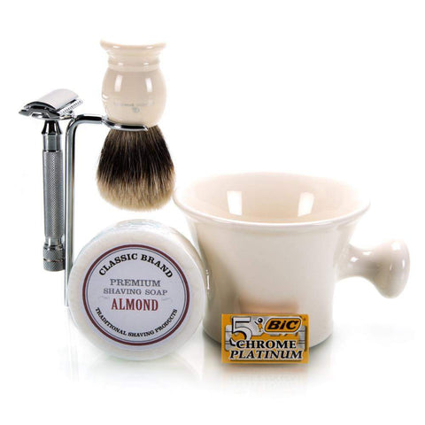 "Deluxe ""Your Color Choice"" Apothecary Safety Razor Complete Set-"