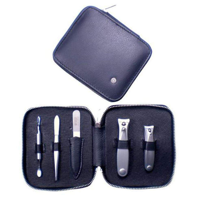 Dovo 5-Piece Manicure Set in Black Napa Leather-