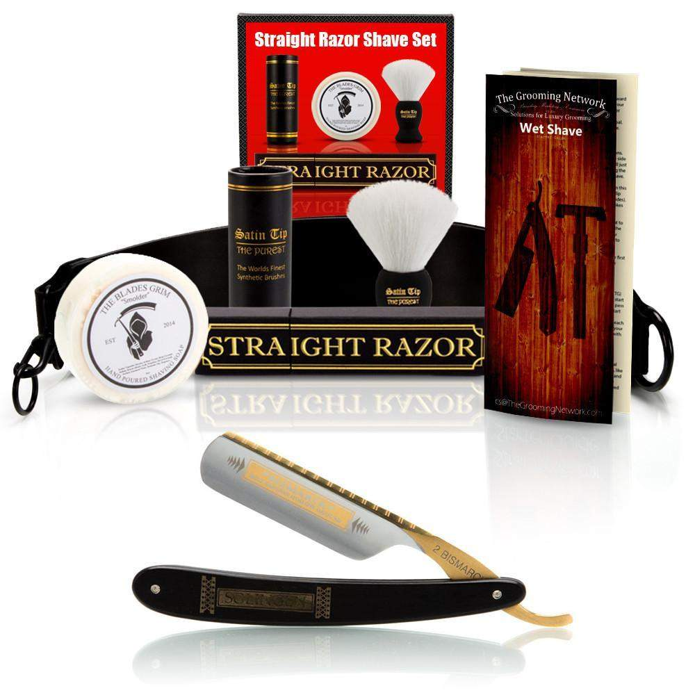 "DOVO 5/8"" ""Ebony Bismarck"" Straight Razor with Luxury Shave Set-"