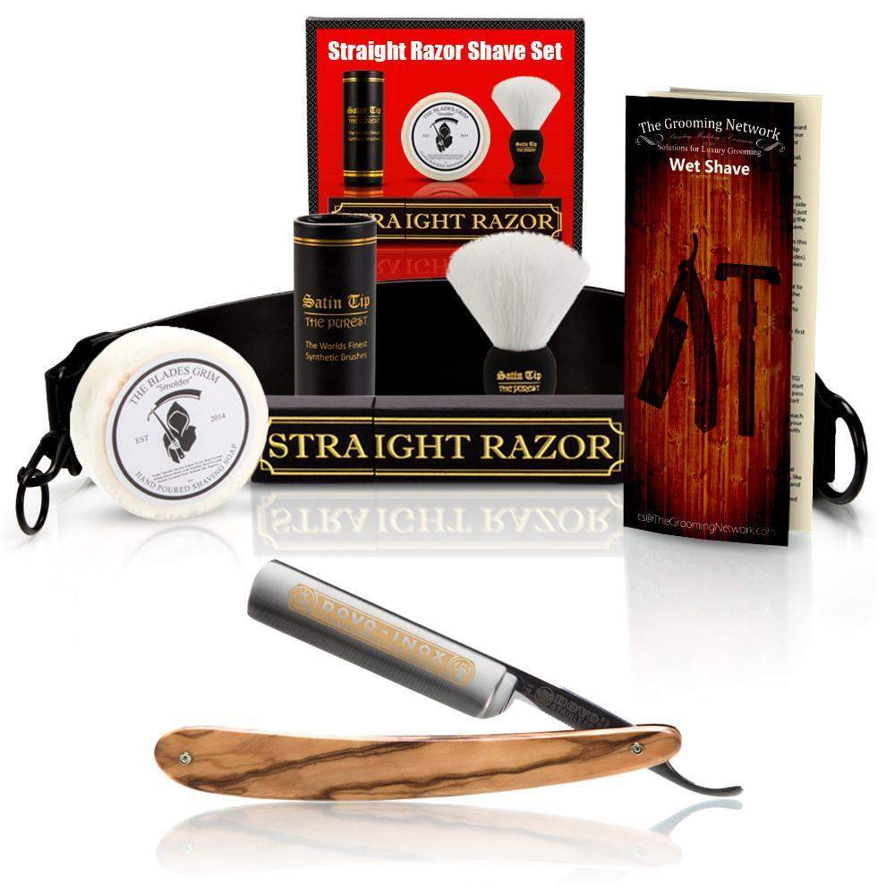 "DOVO 5/8"" ""Olive Wood Inox"" Straight Razor with Luxury Shave Set-"