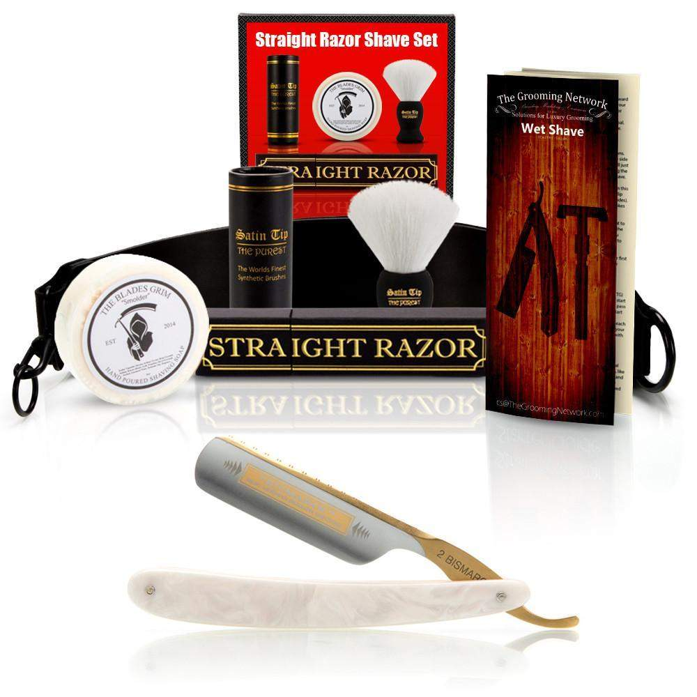 "DOVO 5/8"" ""Pearl Bismarck"" Straight Razor with Luxury Shave Set-"