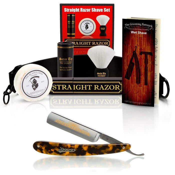 "DOVO 5/8"" ""Tortoise"" Straight Razor with Luxury Shave Set-"