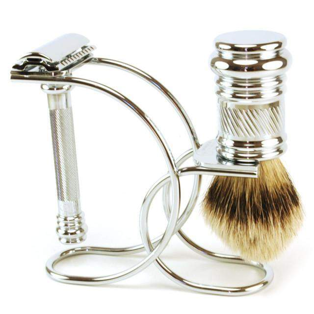 Dovo Chrome Curve Safety Razor and Shaving Brush Stand-