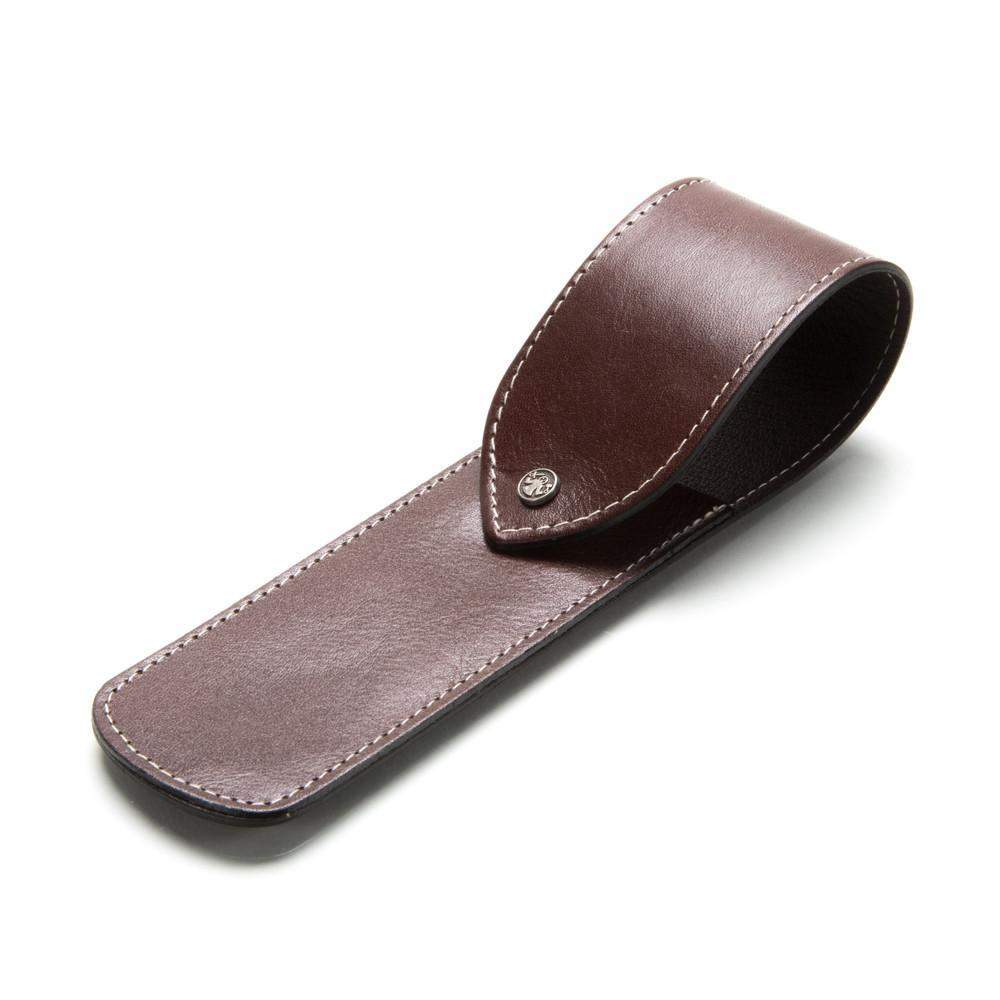 DOVO Leather Straight Razor Case-Burgundy