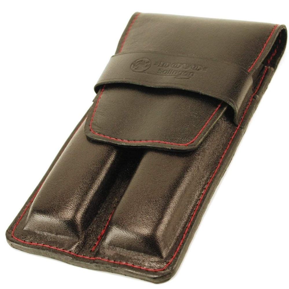 Dovo Leather Two Straight Razor Case - Black & Maroon-