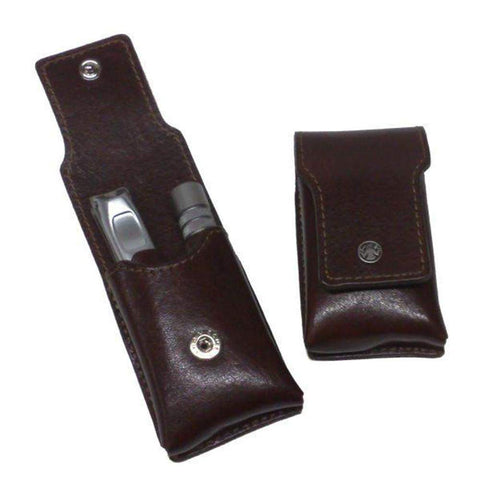 Dovo Nail Clipper and Nose Hair Trimmer Cased in Deluxe Brown Leather-