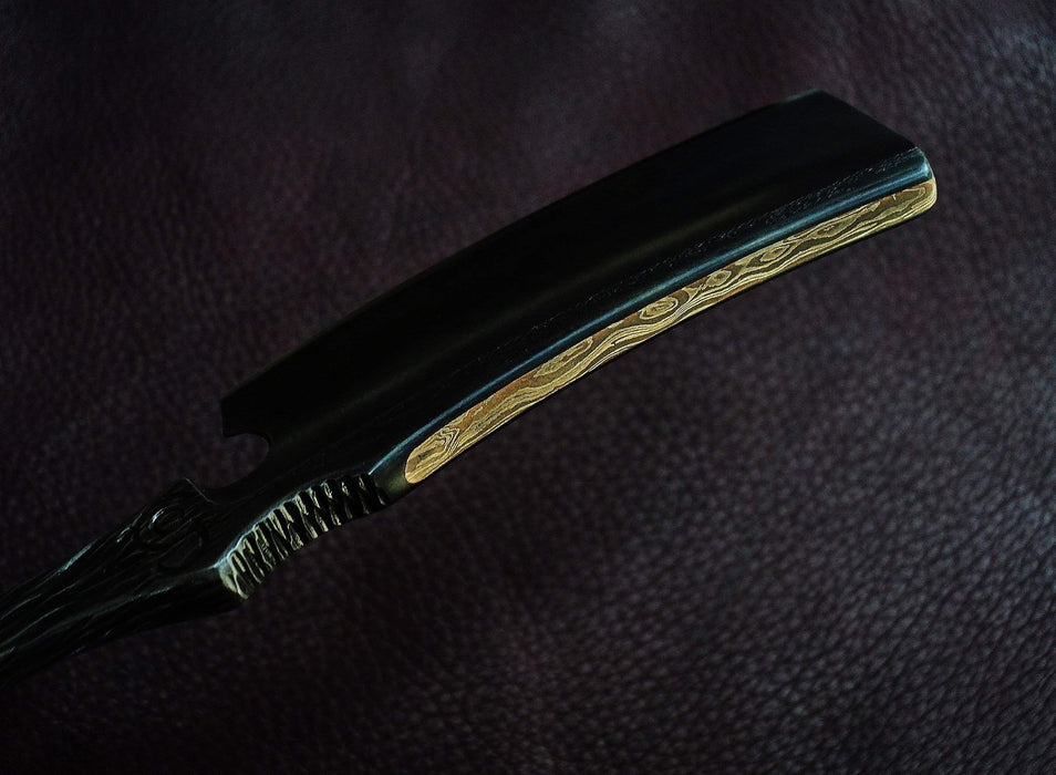 Dylan Farnham Custom Straight Razor With Damscus Inlay and Burl Wood Scales-