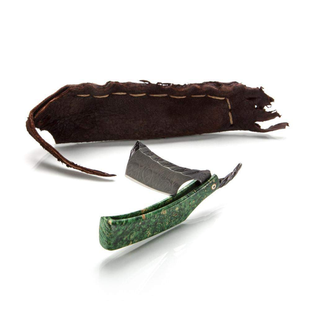 Dylan Farnham Straight Razor In Stabilized Box Elder Burl Scales-