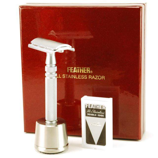 Feather All Stainless DE Safety Razor with Stand-