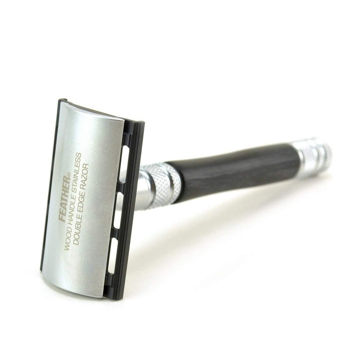 Feather Wood Handle Stainless DE Safety Razor with Stand-