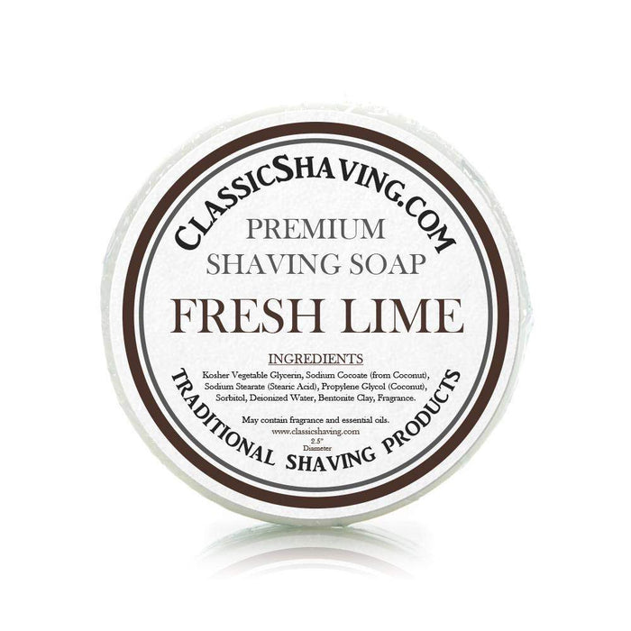 "Fresh Lime Scent - Classic Shaving Mug Soap - 2.5"" Regular Size-"