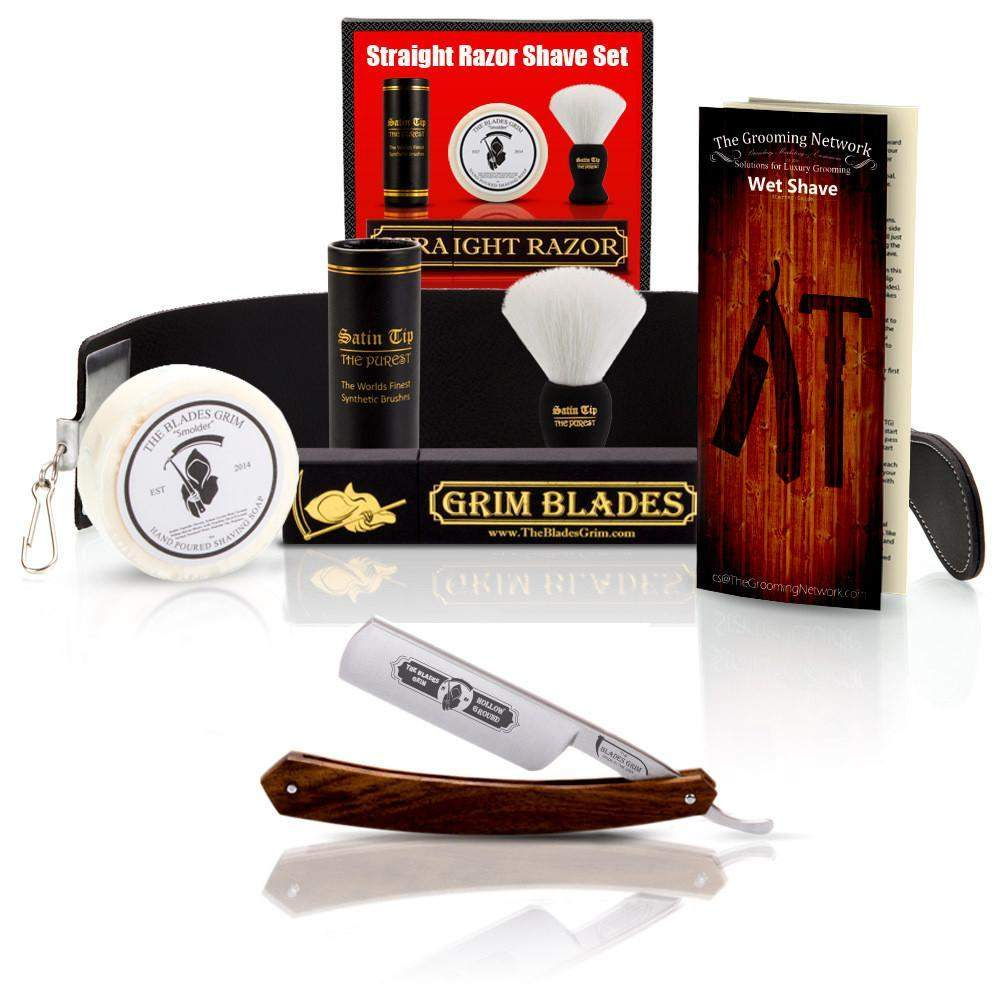 Grim Blades Round Tip Exotic Rosewood Straight Razor with Luxury Kit-