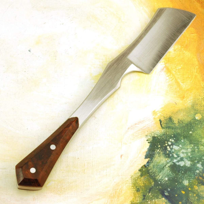 Harner 11/16 XHP, Half-Hollow, Double Bevel Kamisori Razor with Ironwood Burl with Custom Saya (Sheath)-