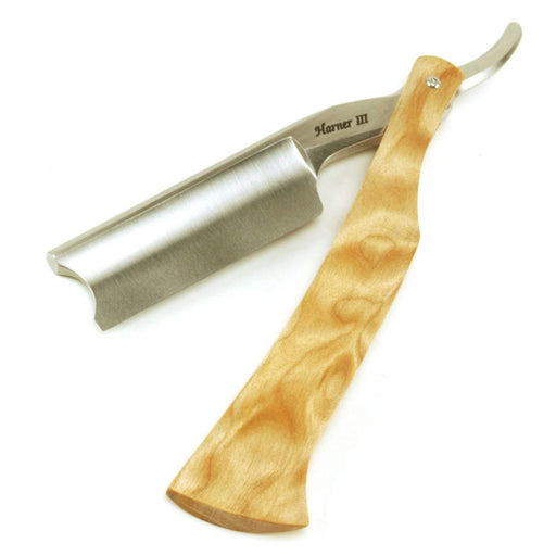 Harner 15/16 XHP Full-hollow Barber's Notch Razor, with quilted maple scales-