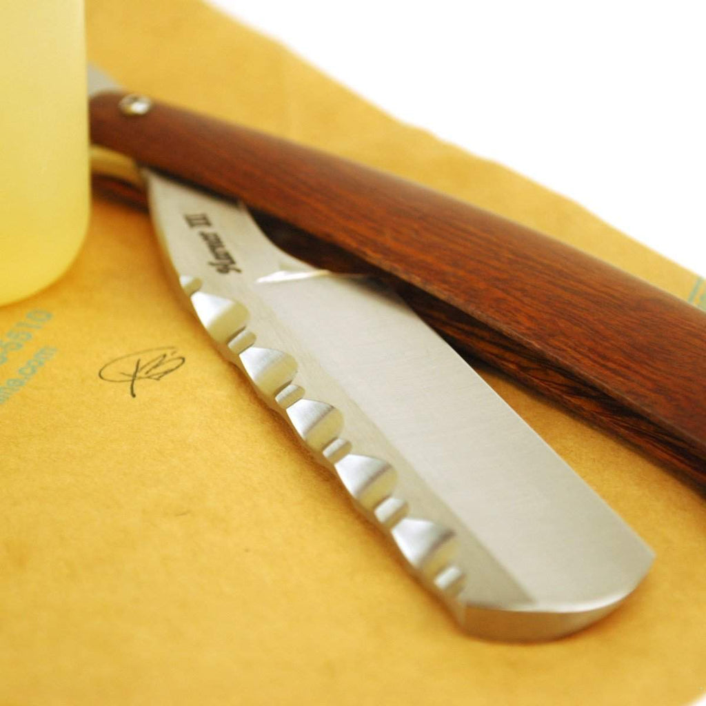 Harner 5/8 XHP Quarter Hollow, Round Point Spineworked Razor, with ironwood scales-